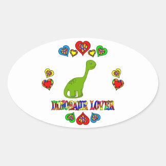 Amante del dinosaurio pegatina ovalada