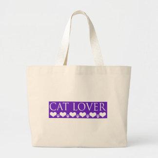 Amante del gato bolsa tela grande