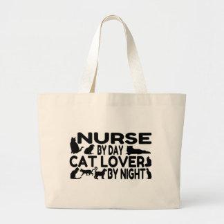 Amante del gato de la enfermera bolsa tela grande