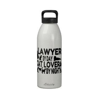 Amante del gato del abogado botella de agua