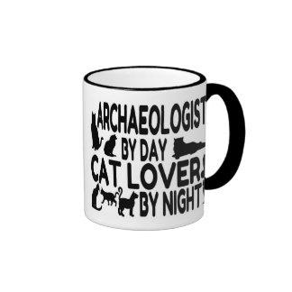 Amante del gato del arqueólogo taza de café