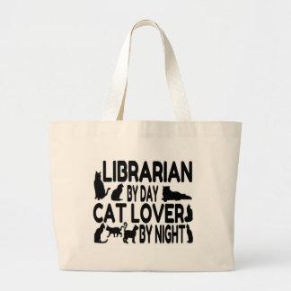Amante del gato del bibliotecario bolsa tela grande