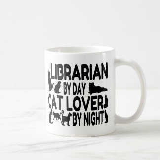 Amante del gato del bibliotecario tazas