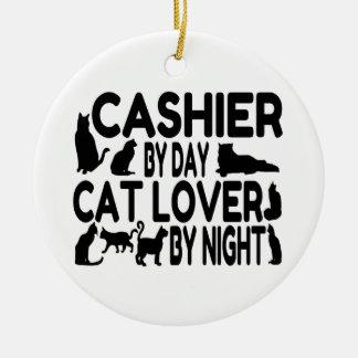 Amante del gato del cajero adorno redondo de cerámica