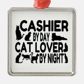 Amante del gato del cajero adorno cuadrado plateado