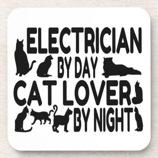 Amante del gato del electricista posavasos de bebidas