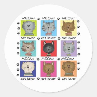 Amante del gato del maullido pegatinas redondas