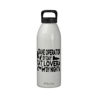 Amante del gato del operador de grúa botella de beber