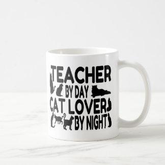 Amante del gato del profesor taza básica blanca