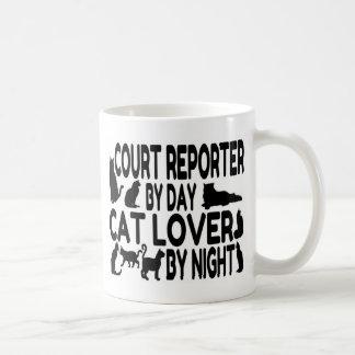 Amante del gato del reportero de corte taza de café