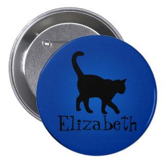 Amante del gato negro - mi nombre pin redondo de 3 pulgadas