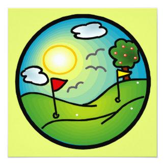 """Amante del golf invitación 5.25"""" x 5.25"""""""