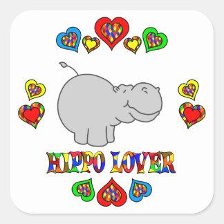 Amante del hipopótamo pegatina cuadradas personalizada