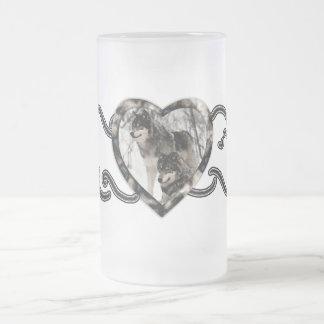 Amante del lobo taza de cristal