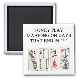 amante del mahjong imán cuadrado