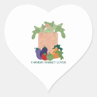 Amante del mercado de los granjeros pegatinas corazon
