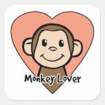 Amante del mono calcomanía cuadradas personalizada