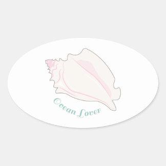 Amante del océano pegatinas oval personalizadas