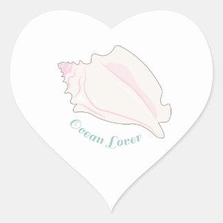 Amante del océano pegatina de corazón personalizadas
