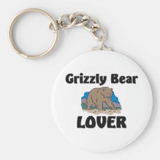 Amante del oso grizzly llaveros
