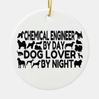 Amante del perro del ingeniero químico adorno navideño redondo de cerámica