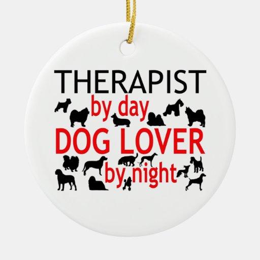 Amante del perro del terapeuta adornos de navidad