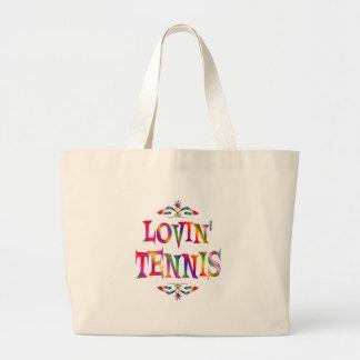 Amante del tenis bolsa tela grande