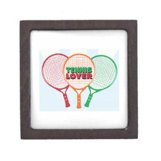 Amante del tenis cajas de recuerdo de calidad