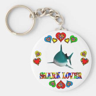 Amante del tiburón llavero redondo tipo pin