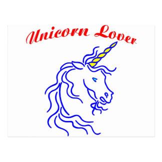 Amante del unicornio tarjeta postal