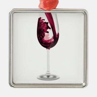 Amante del vino del vino del vino rojo adorno navideño cuadrado de metal
