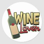 Amante del vino etiqueta redonda