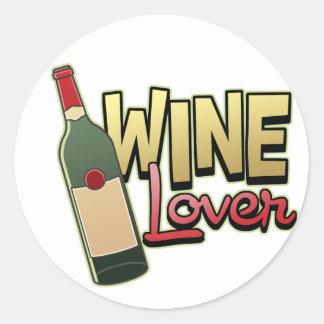 Amante del vino pegatina redonda