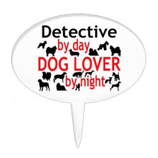 Amante detective del perro figura de tarta
