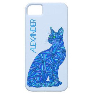 Amante felino azul del gato del gato que se sienta iPhone 5 carcasas