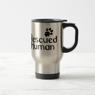 Amante humano rescatado del perro taza de viaje