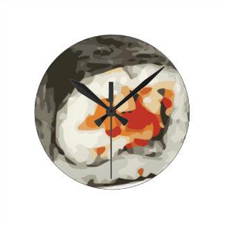 Amante japonés de la comida del rollo de sushi reloj redondo mediano