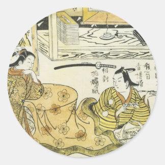 Amante joven en las impresiones 1720 del arte de pegatina redonda