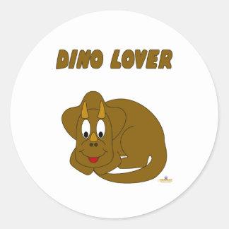 Amante lindo de Dino del dinosaurio de Brown del Pegatina Redonda