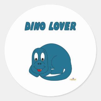 Amante lindo de Dino del dinosaurio de los azules Pegatina Redonda