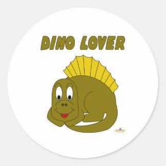 Amante lindo de Dino del dinosaurio del amarillo Pegatina Redonda