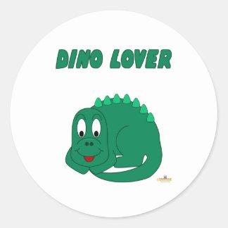 Amante lindo de Dino del Lt dinosaurio verde del Pegatina Redonda