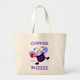 Amante lindo del café de la abeja ocupada del bolsa tela grande