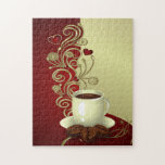 Amante moderno del café rompecabezas con fotos