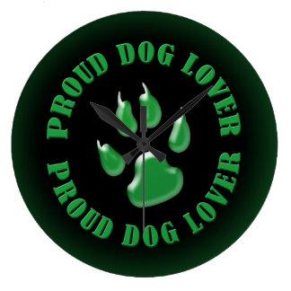 Amante orgulloso del perro reloj redondo grande