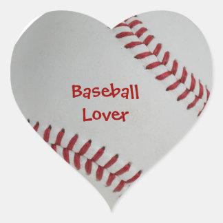 Amante perfecto del béisbol de la echada pegatina en forma de corazón