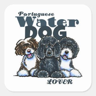 Amante portugués del perro de agua pegatina cuadrada