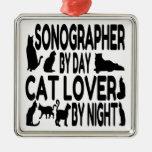 Amante Sonographer del gato Ornamentos De Navidad