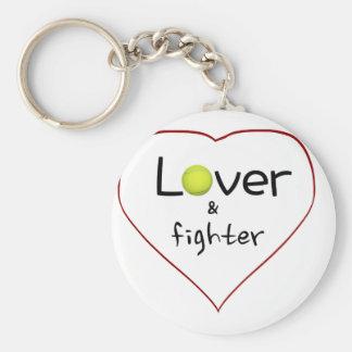 Amante y un regalo del tenis del combatiente llavero redondo tipo pin