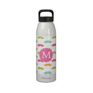 Amantes coloridos cones monograma del bigote botella de beber